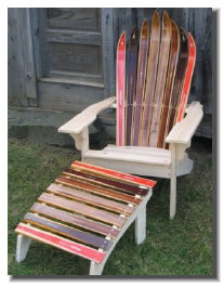 Ski Furniture Kits Wooden Nordic Ski Chair with matching footstool ... & Ski Chairs and Home Furnishings :: Green Mountain Ski Furniture